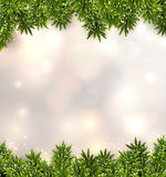 Fir christmas background. Christmas background with fir and stars. Vector illustration Stock Images