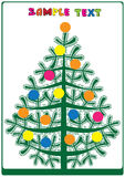 Fir christmas card with balls.  Royalty Free Stock Photography