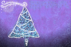 Fir Christmas card with lights. Drawing by Christmas tree with baubles and lights Stock Photo