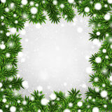 Fir christmas frame. Detailed frame with fir. Christmas background. Vector illustration Royalty Free Stock Images