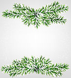 Fir christmas frame. Detailed frame with fir. Christmas background. Vector illustration Royalty Free Stock Photo