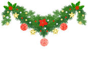 Fir Christmas garland. Decorated with baubles and stars Stock Photos