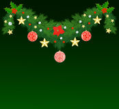 Fir Christmas garland. Decorated with baubles and stars Royalty Free Stock Photos