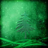 Fir Christmas at Night, Greeting Card Royalty Free Stock Photo