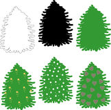 Fir, Christmas tree. Contours, black, green tree, decorated with yellow stars, white snow, pink hearts. Clipart, New year. Clipart for Christmas decoration Stock Photo
