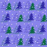 Fir Christmas trees in snow seamless pattern stock illustration