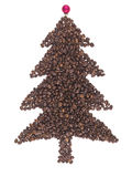 Fir of coffee beans. Fir made of coffee beans on the white background Stock Photography