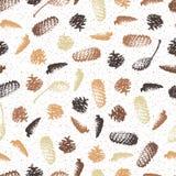 Fir-cone. Black contour. Shading pen. Stock Image