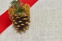 Fir-cone. Green red christmas fir-cone gift pine backgrounds year Royalty Free Stock Image