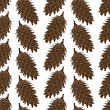 The fir cone pattern. Forest brown cone. Christmas design. Vector illustration Royalty Free Stock Images