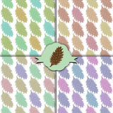 The fir cone pattern. Set of four colorful patterns. Blue, purple, red, green forest cones. Christmas design. Vector illustration Stock Photo