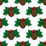 Fir cone seamless pattern. Background for holiday design Royalty Free Stock Photography