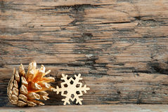 Fir Cone and Snowflake Stock Photo
