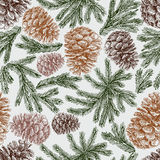 Fir cones and fir branches. Vector pattern of the branches and the cones of a fir tree Royalty Free Stock Image