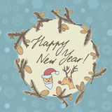Fir cones Greeting card. Congratulations with new year and Christmas. Stock Photo
