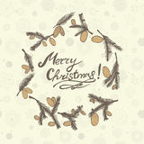 Fir cones Greeting card. Congratulations with new year and Christmas. Geeting card with fir cones. Congratulations with new year and Christmas. The circular Stock Photography