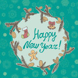 Fir cones Greeting card. Congratulations with new year and Christmas. Stock Photography