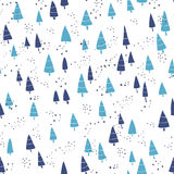 Fir forest - cartoon Christmas pattern. Simple seamless winter. Print. Vector illustration Royalty Free Stock Image