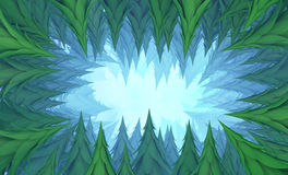Fir Forest Cave Tunnel. Deep abstract 3d illustration, horizontal background Royalty Free Stock Photo