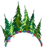 Fir forest with Christmas decorations. Fairy fir forest on a white background with place for text Stock Photos