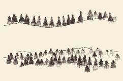 Fir Forest Contours Engraving in Mountains. Mountains with fir forest contours of the mountains engraving vector illustration hand drawn sketch Royalty Free Stock Photos
