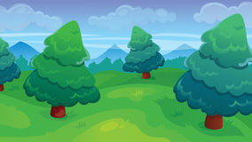 Fir Forest Game Background. Vector seamless cartoon game background of fir forest landscape Stock Photography