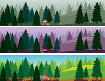 Fir forest three banners, fog, dawn, day. Fir forest and a small house three banners, fog, dawn, day Stock Photos