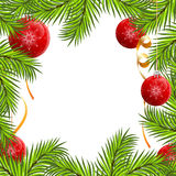 Fir framing. ���� baubles isolated on white background Royalty Free Stock Photography