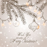 Fir and garland lights. Christmas background with fir garland lights and toys. Vintage holiday frame. Vector illustration Royalty Free Stock Photo