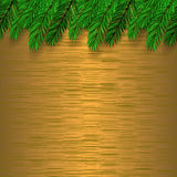 Fir Green Branch. On Brown Metal Background Stock Photography