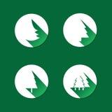 Fir Icons. Set of Four Green Circular Fir Icon Designs in Editable Vector Format Stock Photo