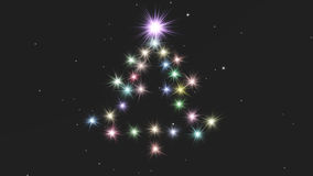 Fir from lights. Fir composed from shining stars on the starry sky Royalty Free Stock Photo