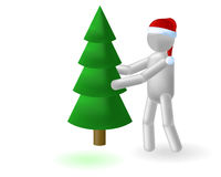 Fir and man. The grey man bears a green fur-tree Stock Image