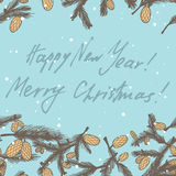 Fir pine cone seamless border. Illustration. congratulations with new year and Christmas. Use as a greeting card Stock Photos