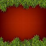 Fir red christmas frame. Detailed red frame with fir twigs. Christmas background. Vector illustration Royalty Free Stock Photo