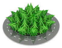 Fir Road Ring. Fir tree 3d model road ring  with white background Stock Photography