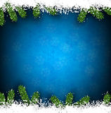 Fir and snow christmas frame. Detailed frame with fir. Blue christmas background. Vector illustration Stock Photo