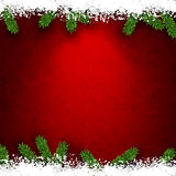 Fir and snow christmas frame. Detailed frame with fir. Red christmas background. Vector illustration Stock Images