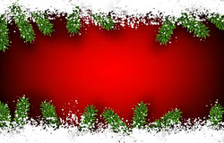 Fir and snow christmas frame. Detailed frame with fir. Red christmas background. Vector illustration Royalty Free Stock Images