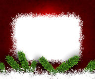 Fir and snow christmas frame. Detailed frame with fir. Red christmas background. Vector illustration Stock Photography