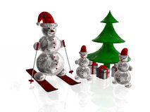 Fir and snowmans. As christmas background Stock Photography