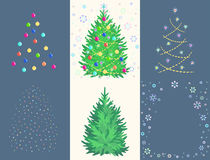 Fir toy set with ball, garland, snowflake, star. Christmas decorations creation Kit. Vector illustration Royalty Free Stock Photos