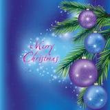 Ανασκόπηση Χριστουγέννων με fir-tree τον κλάδο Στοκ Φωτογραφία