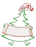 Fir-tree with accordion. Christmas fir-tree with accordion, symbolical holiday pictogram Stock Image