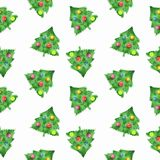 Fir tree and balls. Christmas background 1. New year seamless pattern. Fir tree and balls. Christmas background Stock Photography
