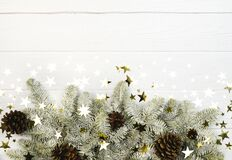 Fir tree border, cones and stars confetti on white background. Christmas holiday card, banner template