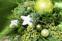 Fir tree bouquet green baubles Stock Photography