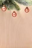 Fir tree branch with brown christmas balls Stock Image