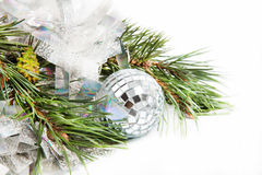 Fir tree branch with Christmas ball Stock Photo