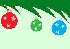 Fir-tree branch with Christmas balls. Conceptual illustration with a branch of the Christmas fir-tree Royalty Free Stock Photos
